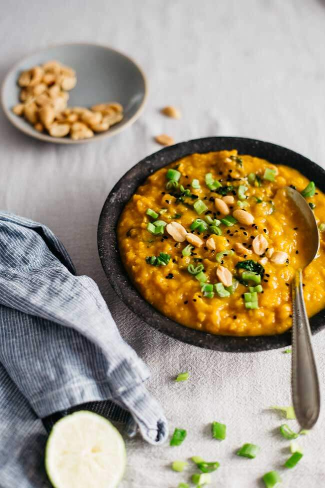 Kale and sweet potato stew, nourishing and creamy, with peanut butter | TheAwesomeGreen.com