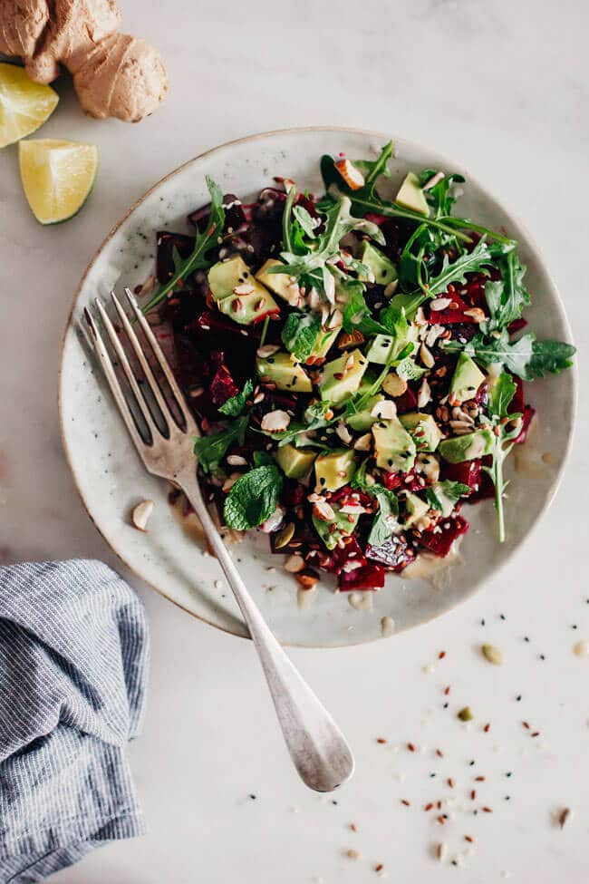 A simple beet, avocado and mint salad for a gentle liver cleanse #detox #beet | TheAwesomeGreen