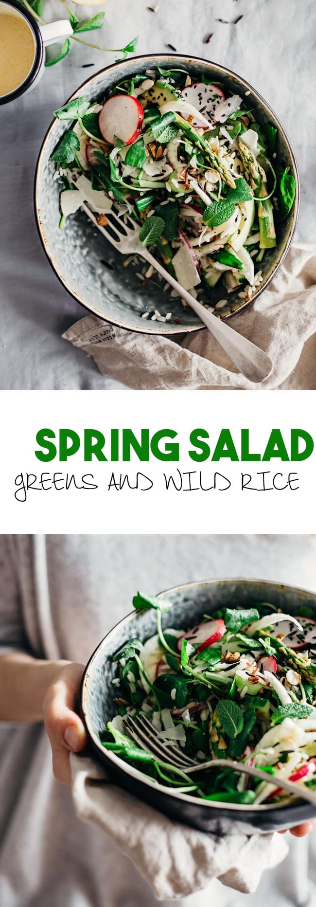 Spring salad with fresh greens, herbs and wild rice, for a detox lunch | TheAwesomeGreen.com