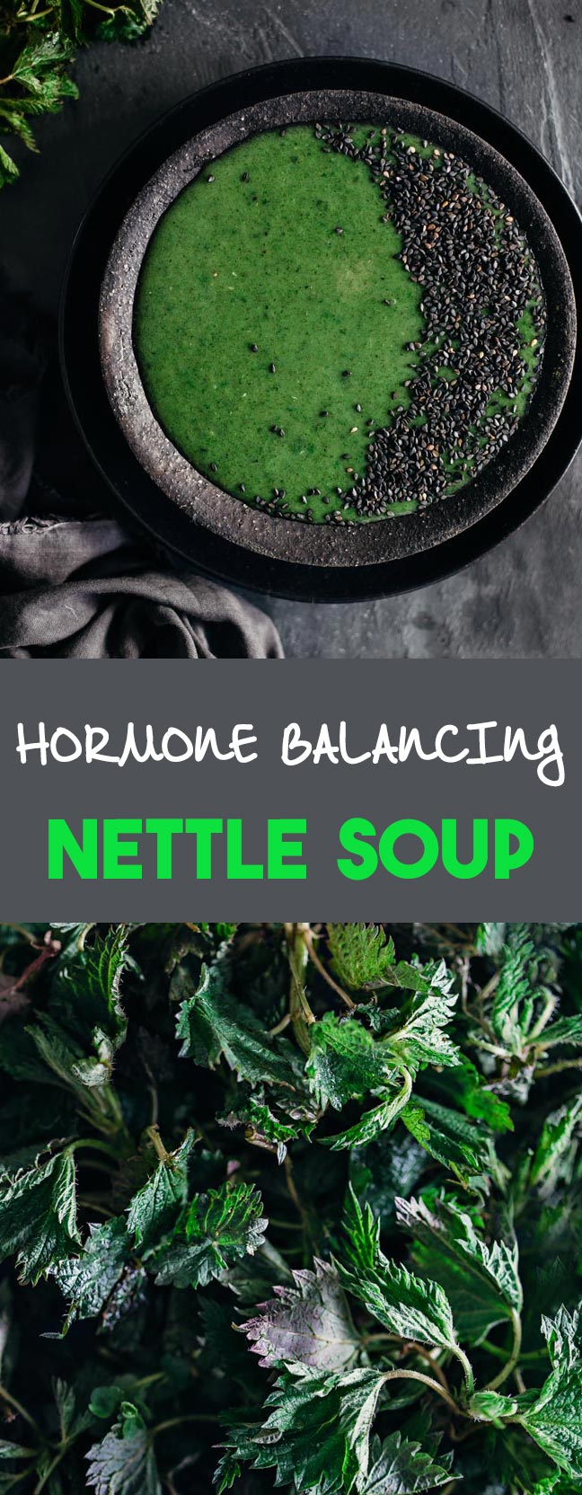 Creamy green nettle soup for hormone balance and spring detox #vegan | TheAwesomeGreen.com
