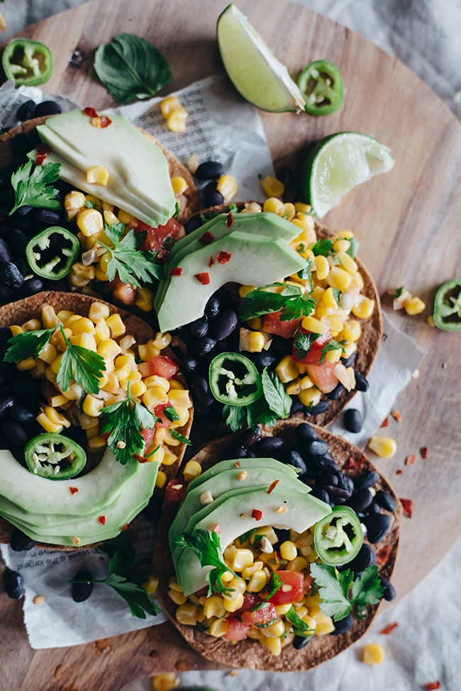 Crispy tostadas with spicy black beans and sweet corn salsa | TheAwesomeGreen.com