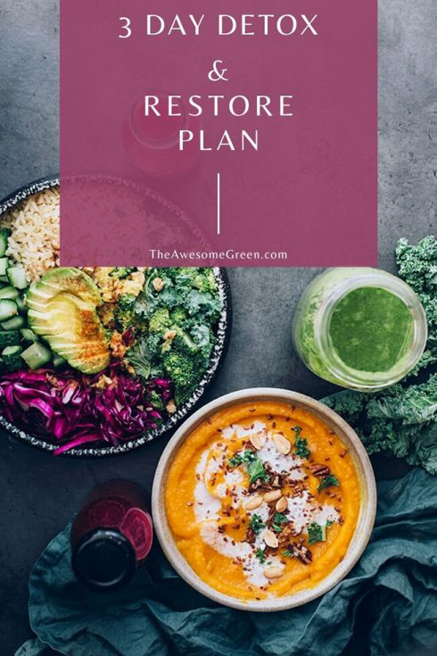3 Day Detox Plan meals on plates