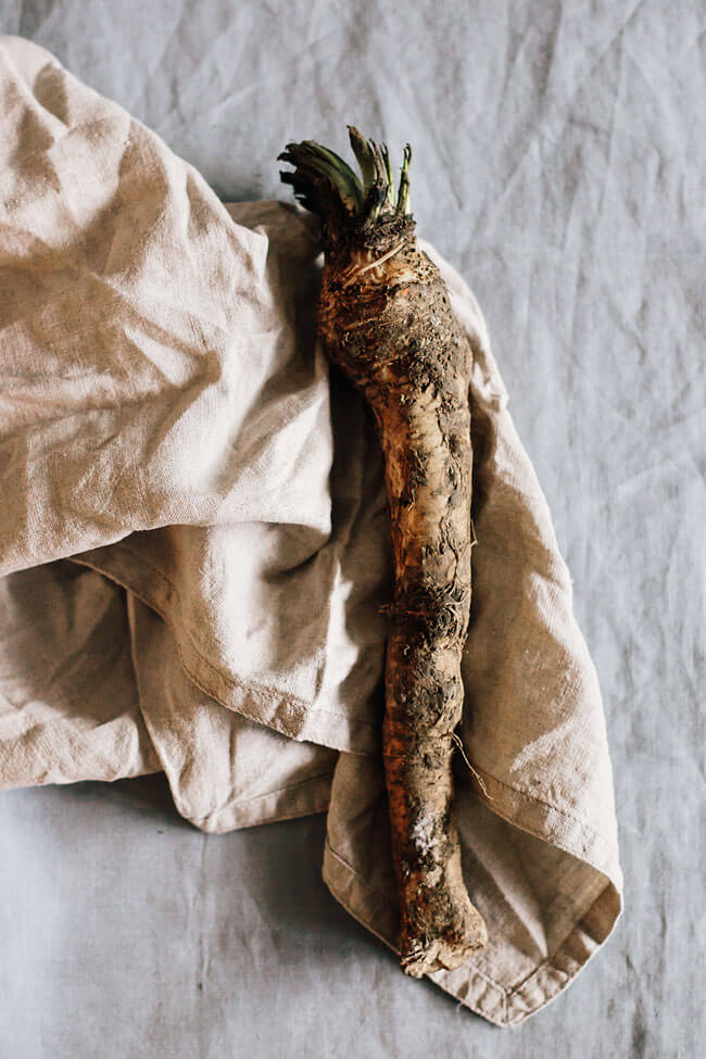 Horseradish, the secret ingredient for my spicy creamy Dijon sauce I serve roasted veggies with | TheAwesomeGreen.com
