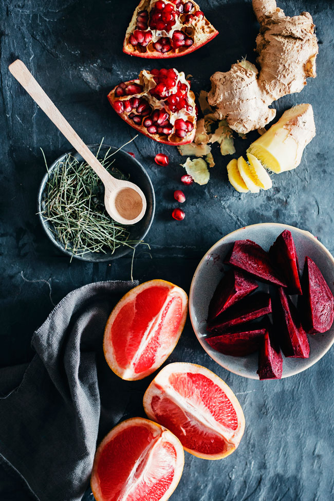 The ingredients for beet and ginger elixir with purifying tea #detox #cleanse | TheAwesomeGreen.com