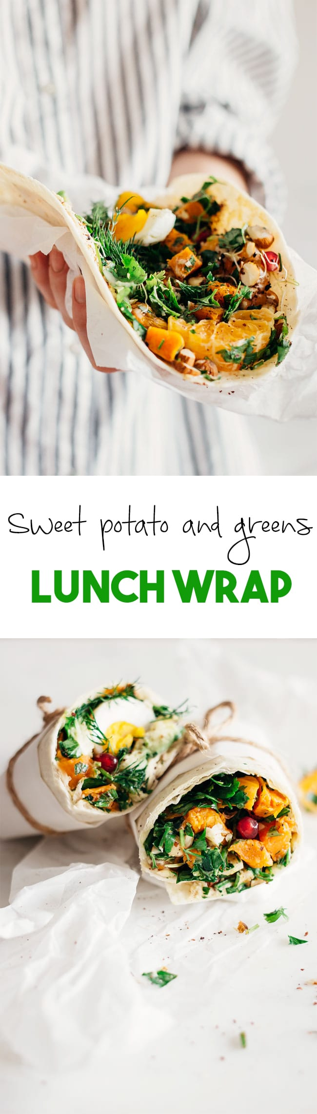 Easy wrap with sweet potato, hummus and greens for a healthy lunch on the run | TheAwesomeGreen.com