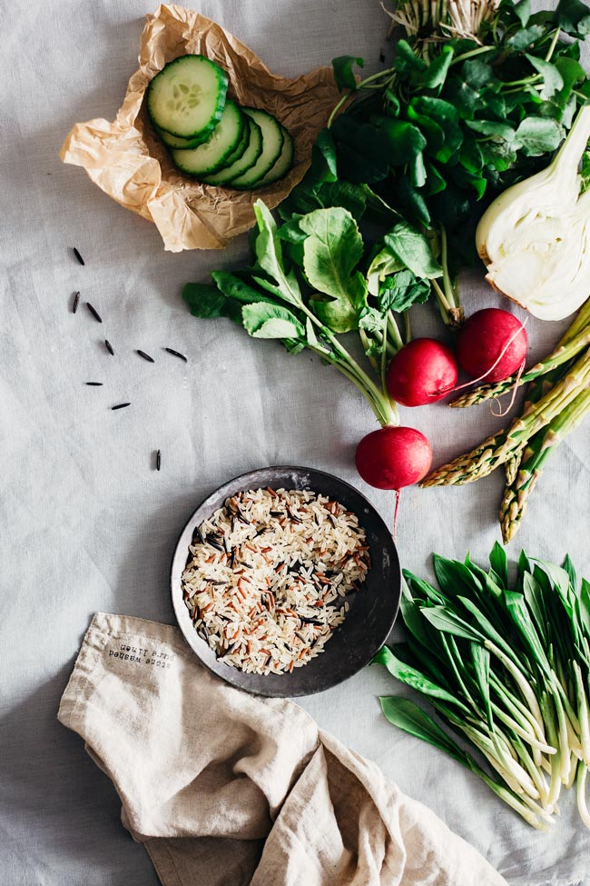Spring Salad Ingredients - fresh greens, crunchy vegetables and wild rice #healthy   TheAwesomeGreen.com