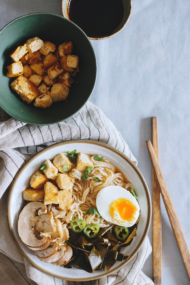 Ramen Noodles with Kombu Dashi and Caramelized Tofu | TheAwesomeGreen.com