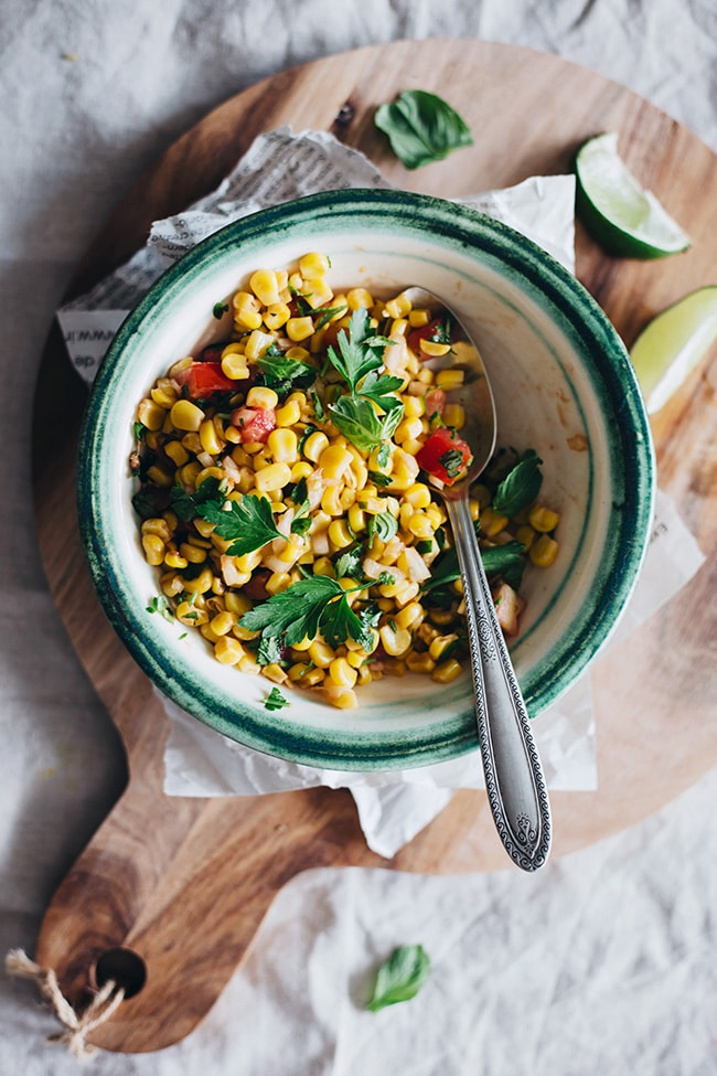Sweet Corn Salsa with ripe tomatoes, parsley and lime juice #summer| TheAwesomeGreen.com