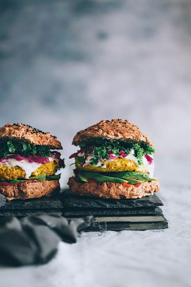 Spiced cauliflower burger with sauerkraut, avocado and kale   TheAwesomeGreen.com
