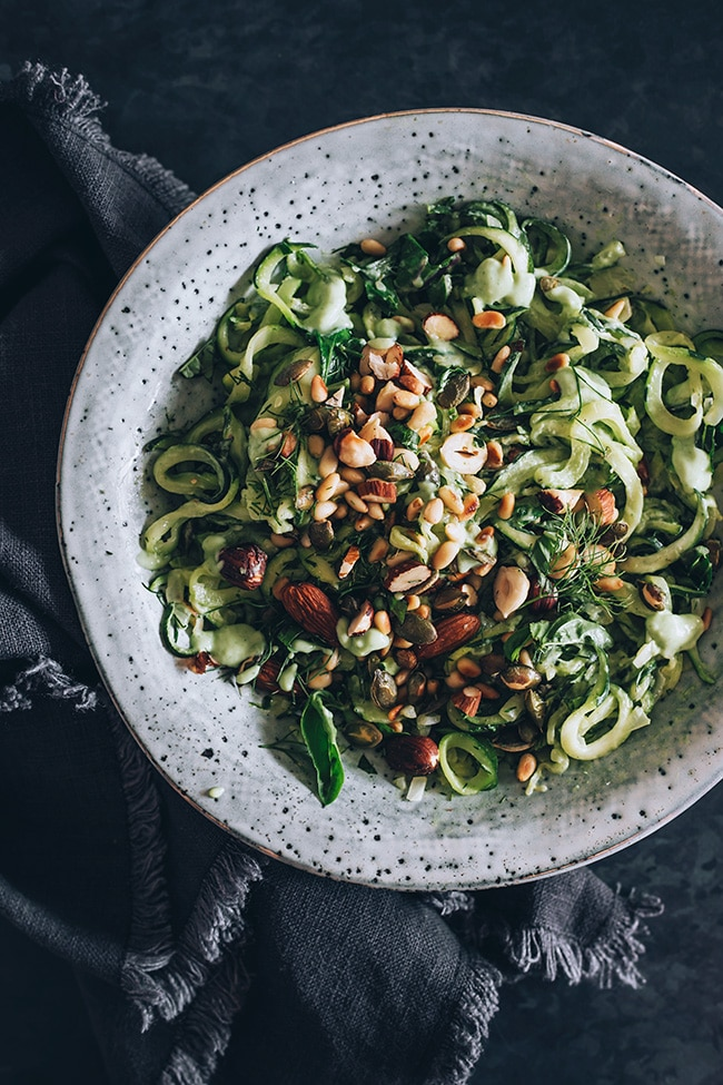 Zucchini Noodles with Creamy Avocado Pesto, Herbs and Toasted Nuts #vegan #summer #gluten-free | TheAwesomeGreen.com