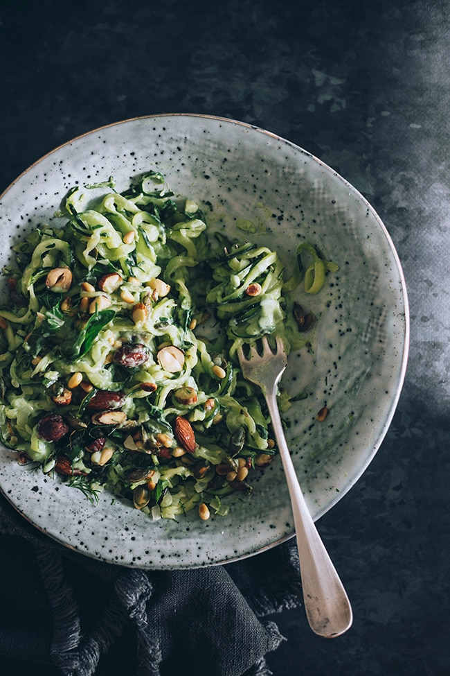 Zucchini Noodles with Avocado Pesto #vegan | TheAwesomeGreen.com