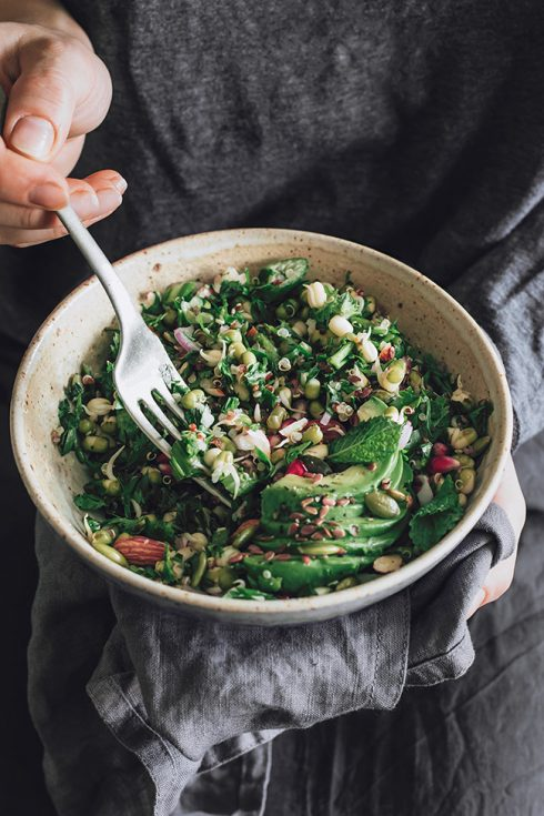 Mung sprouts detox salad for an easy season transition #detox #raw | TheAwesomeGreen.com