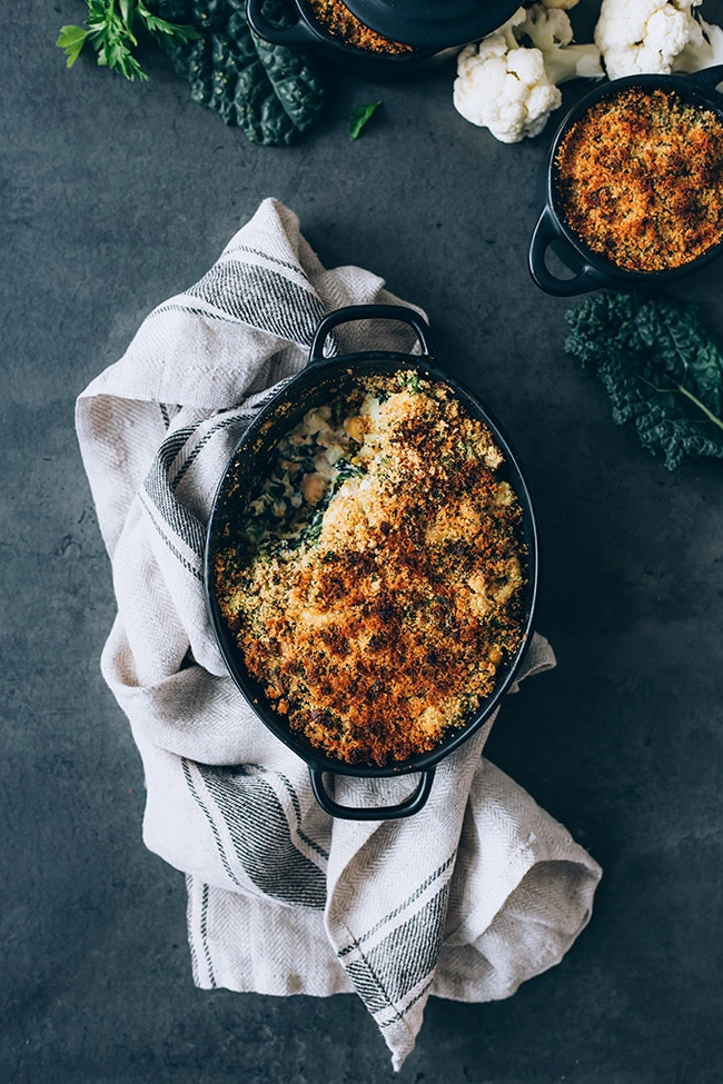 Veggie-loaded casserole, perfect for the Thanksgiving dinner! #vegan #thanksgiving #foodstyling #foodphotography #casserole #kale #cauliflower | TheAwesomeGreen.com