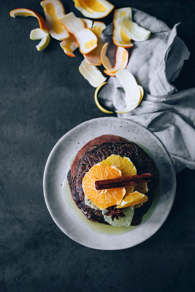 Oat flour pancakes with citrus compote #glutenfree #vegetarian #christmas #breakfast #foodPhotography #foodstyling   TheAwesomeGreen.com