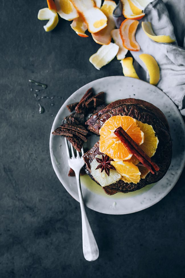 Christmas morning pancakes with oat flour and citrus compote #glutenfree #vegetarian #christmas #breakfast #foodPhotography #foodstyling   TheAwesomeGreen.com