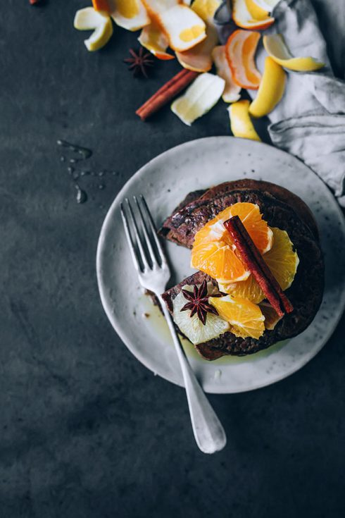 No-fail oat flour pancakes with citrus compote, the perfect Christmas breakfast #glutenfree #vegetarian #christmas #breakfast #foodphotography #foodstyling   TheAwesomeGreen.com