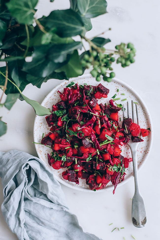 Russian salad with beet, sauerkraut and potatoes for a strong immune system and healthy gut #vegan #immuneboost #guthealth #salad #beet #sauerkraut #foodstyling #foodphotography | TheAwesomeGreen.com