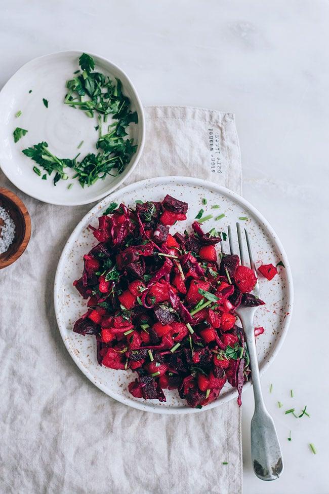 Beet, Potato and Sauerkraut Russian Salad #vegan #immuneboost #guthealth #salad #beet #sauerkraut #foodstyling #foodphotography | TheAwesomeGreen.com