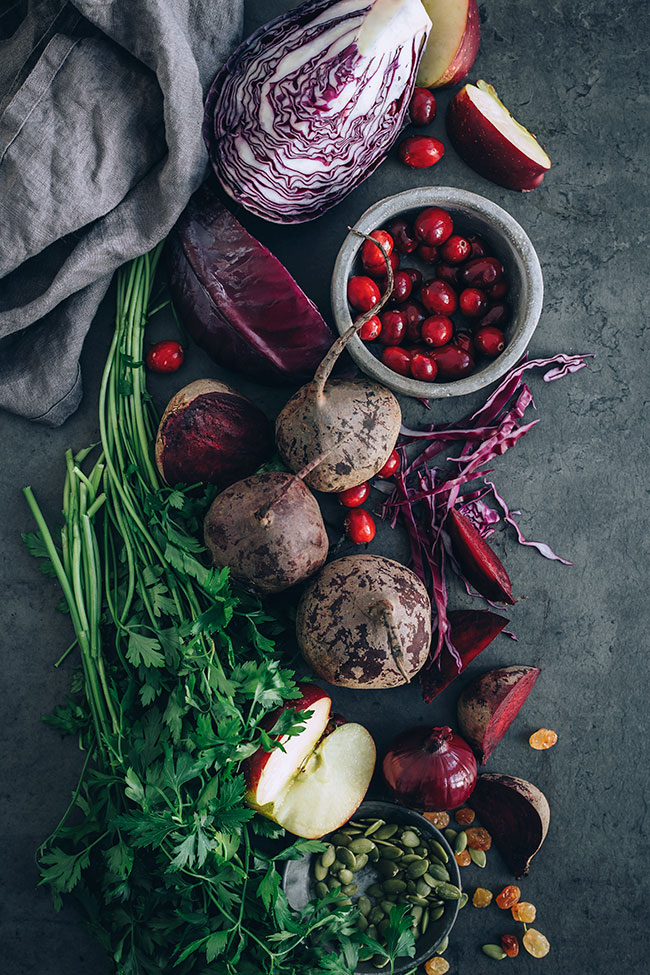 Sauerkraut salad with beets and cranberries #immunesupport #healthygut#raw #salad #sauerkraut #christmas #foodphotography #foodstyling | TheAwesomeGreen.com