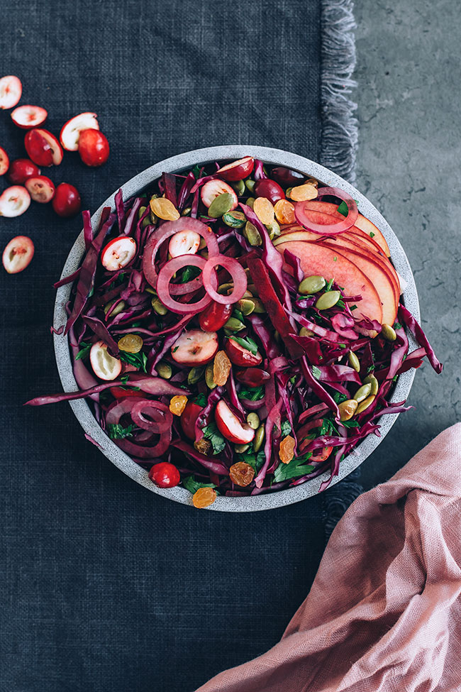 Immune boosting sauerkraut salad with cranberries and beets #immunesupport #healthygut#raw #salad #sauerkraut #christmas #foodphotography #foodstyling | TheAwesomeGreen.com