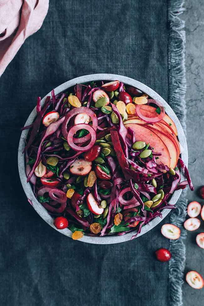 Sauerkraut salad wit cranberries and beets for healthy gut #immunesupport #healthygut#raw #salad #sauerkraut #christmas #foodphotography #foodstyling | TheAwesomeGreen.com
