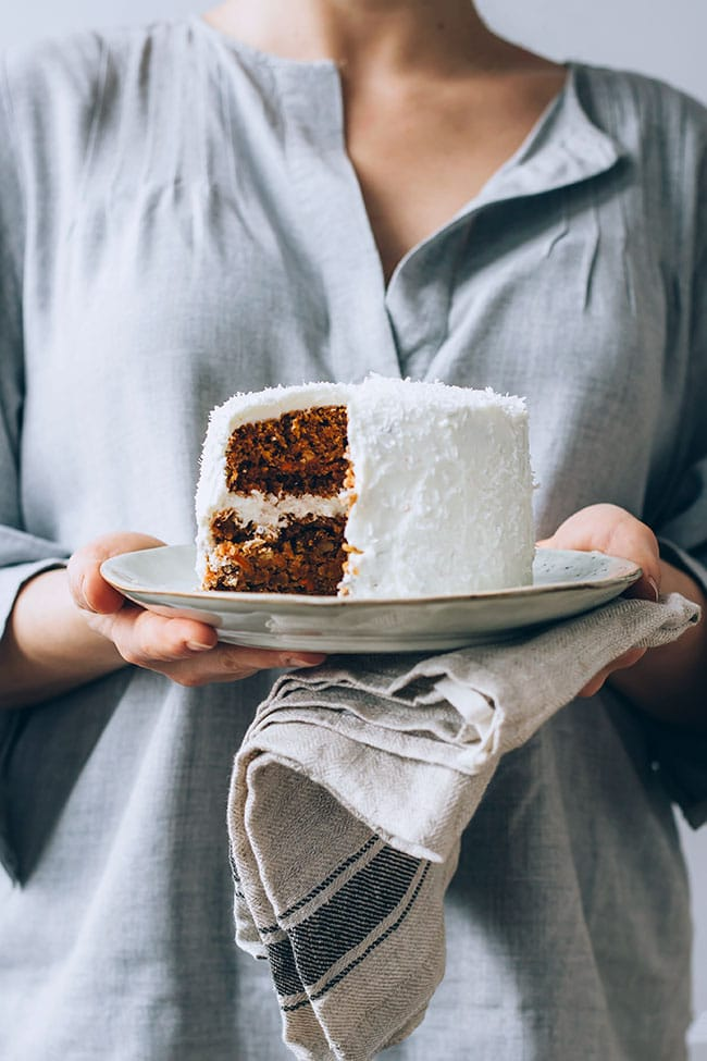 Vegan carrot cake with walnuts and cashew frosting #vegan #carrotcake #valentines #foodstyling #foodphotography #dessert #cashewfrosting| TheAwesomeGreen.com