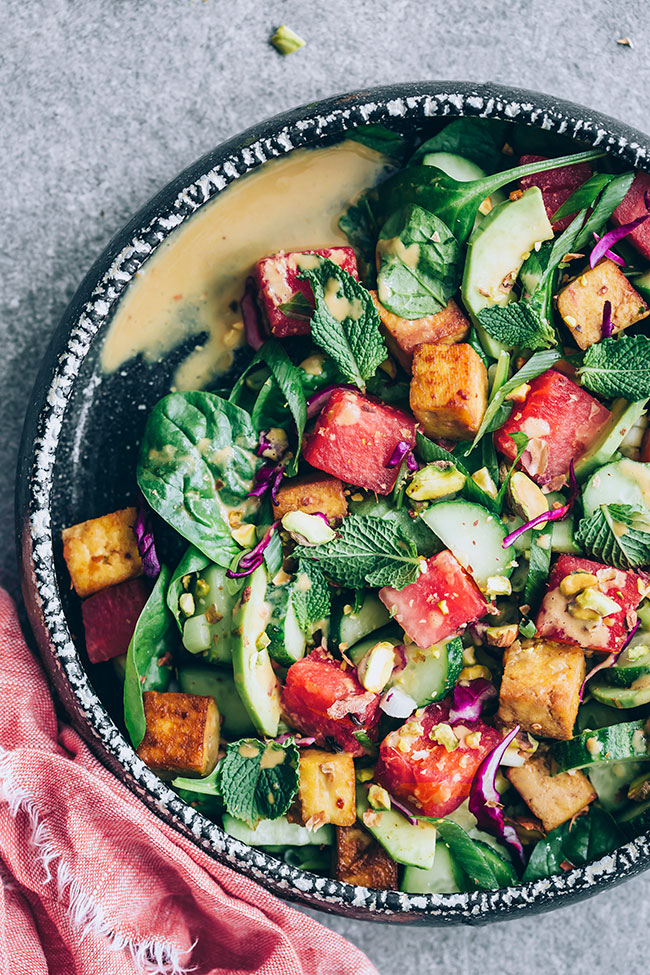 Watermelon salad with tofu and Asian dressing #watermelon #summersalad #vegan | TheAwesomeGreen.com