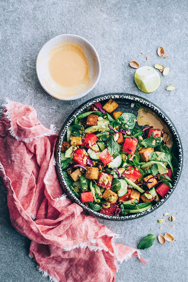 Watermelon, avocado and tofu summer salad #asian #summer #salad #summersalad #vegan | TheAwesomeGreen.com